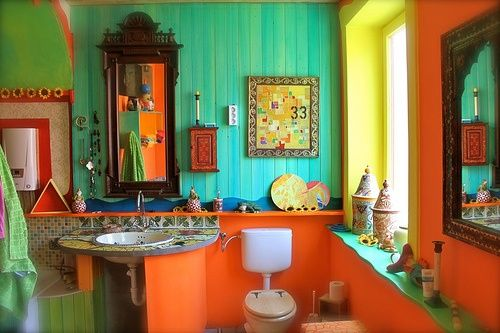 Estate sale finds and shopping for boho chic decor for Colorful bathroom decor