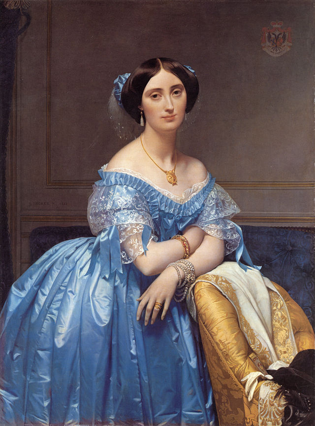 Georgian Era Female wearing antique jewelry